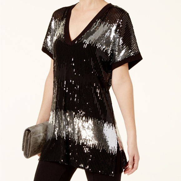 INC International Concepts Tops - I.N.C. Colorblock Sequined Tunic size 1X